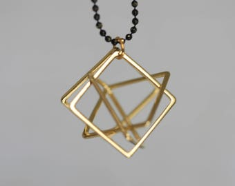 Geometric Square Brass Pendant and Ball Chain Necklace | Minimalist | Gift