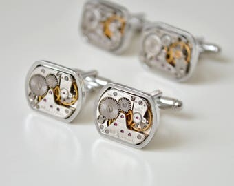 Exclusive Watch Movements Cufflinks/ Wedding Groom Gift Mens/ Clockwork cufflinks/ Best Man Gift Idea/ Steampunk cufflinks/ Silver cufflinks
