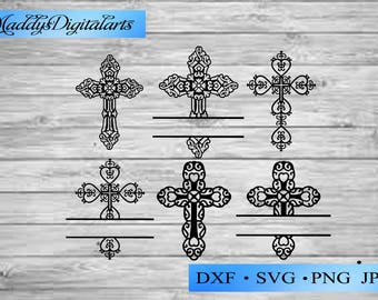 Christian Cross SVG Cut Files - Monogram Frames for Vinyl Cutters, Screen Printing, Silhouette, Die Cut Machines, crosses vector clipart