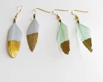 Hemmingway Gold Dipped Feather Earrings