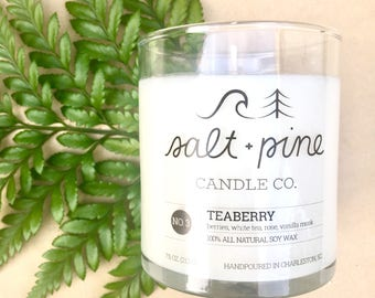 SALT + PINE | No. 3 Teaberry | Scented Handmade Soy Candle in 8 oz. Jar