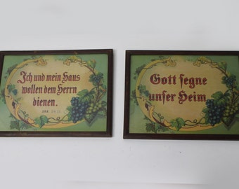 Pair of Vintage Religious Prints in German - God Bless Our Home - I and My House Will be Servants of the Lord