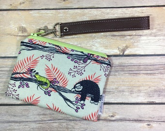 Mini wristlet, sloth wristlet, card wallet, small zipper pouch, faux leather, honeymoon fabric, Costa Rica fabric