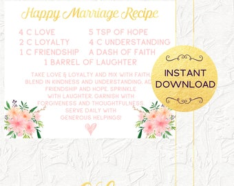 Happy Marriage Recipe Sign, Recipe for a Happy Marriage, Bridal Shower Sign, Floral Sign, Pink and Gold, Bridal Shower, Signage, Typography