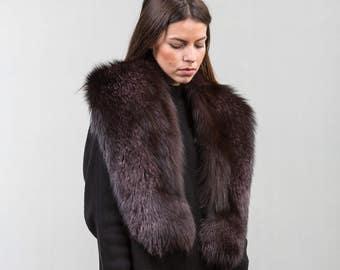 Brown Fox Fur Collar ,Real Fox Fur, Neckwearing, Fur Shawl