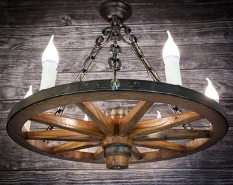 Lamp wooden wheel chandelier circle chain restaurant bower arbor 60 cm wood