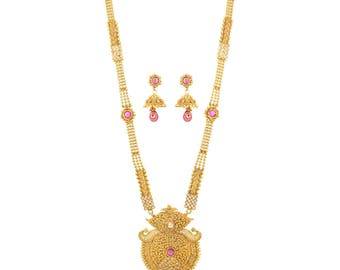 Antique Gold Plated Ruby Long Necklace - Long Rani Haar Necklace and Earring Set - Indian Jewelry, Indian Wedding Jewelry, Sangeet Jewelry