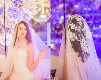Lace Wedding Veil with Blusher #83, Wedding Veil, Lace Veil, Wedding Veil with Blusher , Bridal Lace Veil, Custom Wedding Veil, Bridal Veil