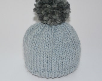Baby Knit Hat / Baby Knit Beanie / Baby Knit Bobble Hat