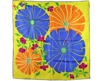 Vintage Scarf, Mod Scarf, Floral Scarf, Flowers, Pop Art, Yellow, Blue, Orange, Never Used, Paper Tag, Made in Japan