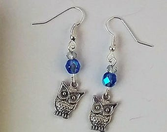 Owl Dangle Earrings with Blue Czech Beads, Blue, Earrings, Drop Earrings, Handmade Earrings, Gifts for Her, Gifts for Mom, Christmas Gifts
