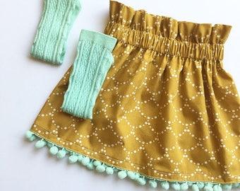 Girls Skirt, Pompom Trim, Spring, Gold, Mint, Vintage Style, High Waisted, Toddler, Custom