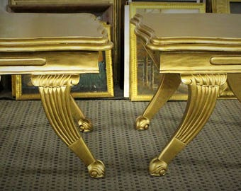 NICE !!!! Solid Mahogany Side Table - Gilded