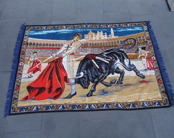 Bull fighting illustrated,vintage wall rug,arena,55 x 38 inches