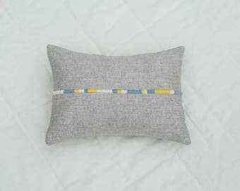 Hand-embroidered pillow - organic hemp and yack wool - French virgin wool - cushion 11''8 X 15''7 - unique piece - slow made in France