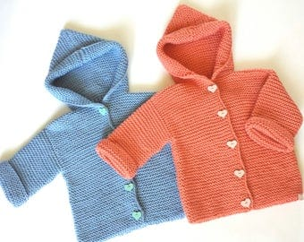 Hand knitted baby sweater, gift for a newborn, baby shower party, babygirl sweater, baby cardigan, toddler jumper, knit baby jumper, sweater