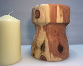 """Hand turned aromatic cedar 3"""" candle holder"""