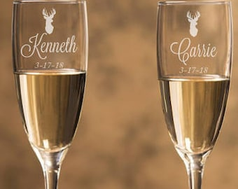 Engraved - Deer Champagne Flutes (2pcs) - Personalized Toasting Flutes - DGI23-A23