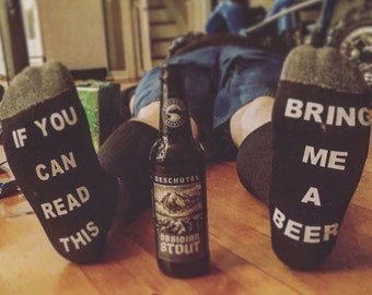 Beer Socks, If you can read this bring me a beer socks, Wine socks, Mens beer socks, Bring me a glass of wine