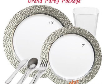 Hammered Clear with Silver GRAND Table Setting Wedding Package
