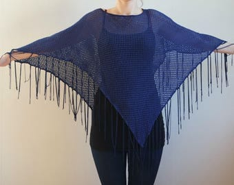Vintage Sheer Blue Lace Poncho With Fringe, 1980s
