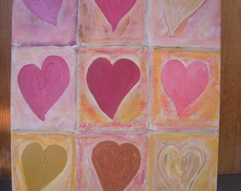 Big Fat Hearts - grid of 9 reds/yellows/pinks/ochres