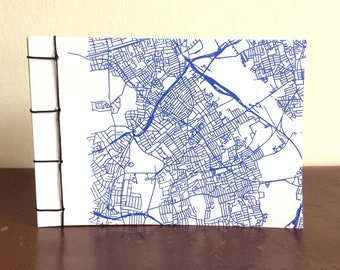 Walthamstow London Map printed notebook handbound multicolour pages