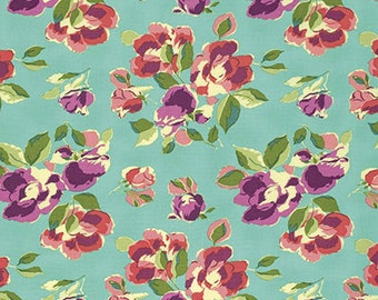 Amy Butler Bright Heart Natural Beauty in Teal freespirit cotton quilting floral blue pink purple flowers fabric material by the metre yard