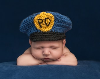 Handmade Infant Crochet Police Hat, Baby Crochet Photo Prop
