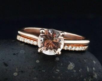 Rose Gold Pink Morganite Ring - Engagement Ring & Band Set - Half-Eternity Diamond Wedding Band