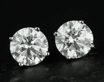Classic Brilliant Cut Diamond Stud Earrings - Prong Set Diamond Studs - Certified GSL Diamond