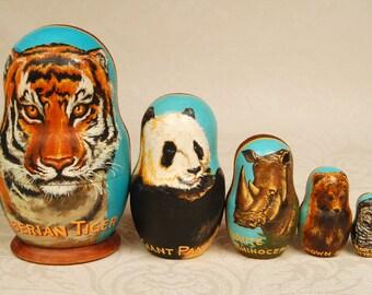 "Genuine Russian Collectible Nesting Doll Vintage ""Endangered Species"" 5 pieces Wildlife Matryoshka St Petersburg"