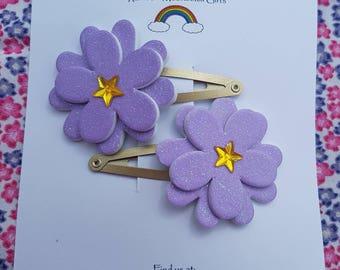 Purple glitter foam flower hair clasps