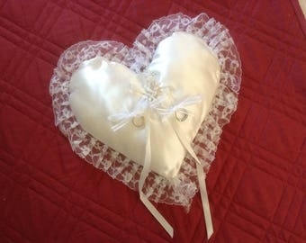 Vintage Wedding Ring Bearer Pillow-Heart Shaped