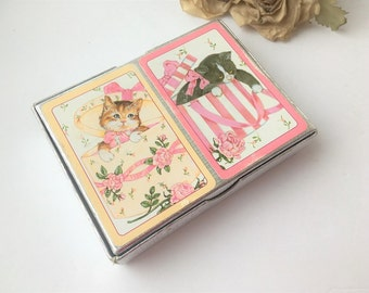 Vintage Kitty Cat Playing Cards / Vintage Playing Cards /  Kitty Playing Cards / Cat Playing Cards / Vintage Cards / Vintage Game