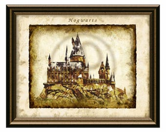 Harry Potter Hogwarts digital art print,Harry Potter Wall Art,Harry Potter Print,Hogwarts,Digital Art,Wall Decor,Poster,Instant Download