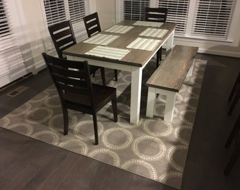 Farmhouse Dining Table or Kitchen Table, grey and white