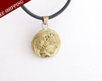 Ancient coin pendant - Ancient coin jewerly - Bronze coin pendant - Greek coin pendant - Goddess Athena coin - Owl coin - Athena pendant