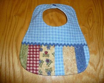 Baby bib, FREE SHIPPING!, 100% cotton flannel, ric rac trim, blue