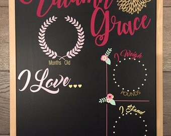 Baby Girl Monthly Milestone Chalkboard Re-Usable shower gift growth chart