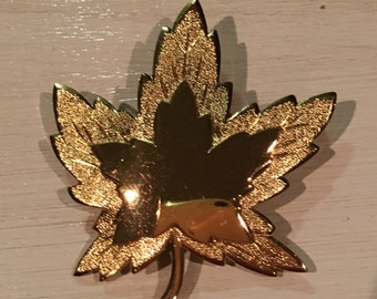 Monet Vintage Goldtone Leaf Pin