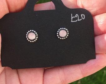 Handmade rose quartz stud earrings