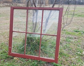 32 x 31 Six 6 pane vintage wood farm house antique window sash wedding reclaimed cottage frame