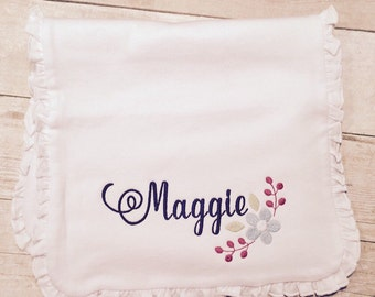 Personalized baby bib, ruffle bib and burp set, burp cloth, embroidered, flowers, floral, boutique baby gift, baby shower gift