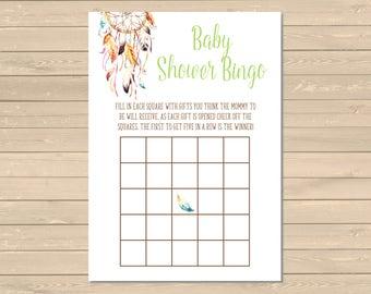 Dreamcatcher Bingo Game, Printable Boho Bingo Activity, Tribal Hippie Baby Shower Bingo Cards, Boho Bingo Game, Instant Download, DIY 022-N