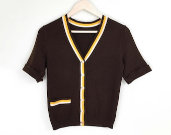 70s Cardigan  brown yellow striped cropped 1970s acrylic preppy half sleeve sweater