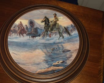 "Vintage Knowles ""Crossing the River"" Plate with Holder"