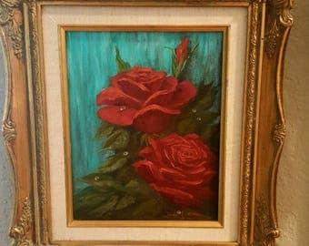 Floral painting vintage floral painting rose painting