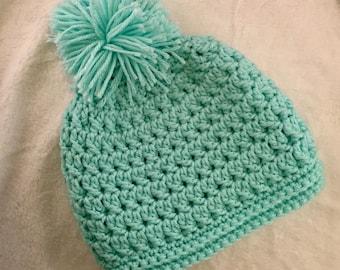 Textured Turquoise Girls Pom Pom Hat