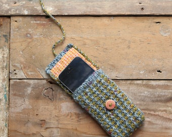 Blue and green hand knitted lined phone cosy